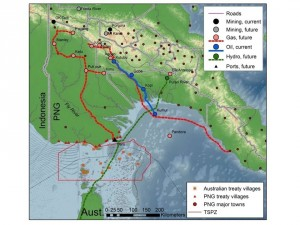 Map of planned development in Papua New Guinea