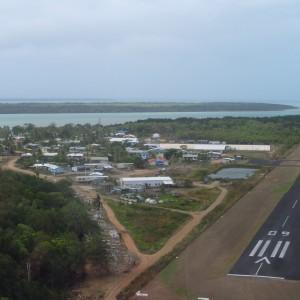 Boigu Island - Aerial view, approach to landing strip